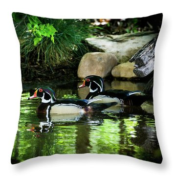 Calm Waters - Wood Ducks Throw Pillow