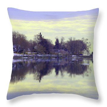 Calming Lavendar Scene Throw Pillow by Karol Livote