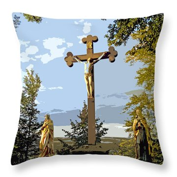 Throw Pillow featuring the photograph Calvary Group - Parkstein by Juergen Weiss