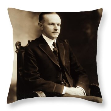 Calvin Coolidge Portrait Throw Pillow