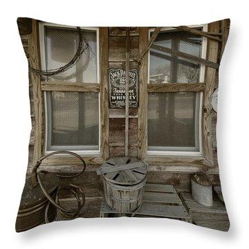 Calvins Garage In Deshler Nebraska Throw Pillow