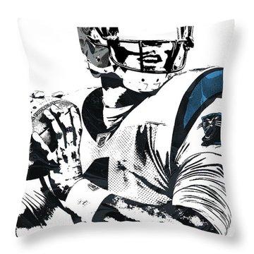 Throw Pillow featuring the mixed media Cam Newton Carolina Panthers Pixel Art 3 by Joe Hamilton