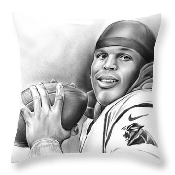 Cam Newton Throw Pillow by Greg Joens