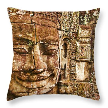 Cambodia Faces  Throw Pillow by Dennis Cox WorldViews
