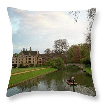 Cambridge Clare College Stream And Boat Throw Pillow by Douglas Barnett