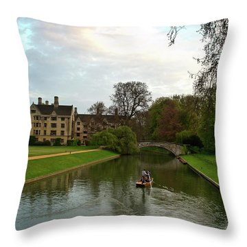 Cambridge Clare College Stream Boat And Boys Throw Pillow by Douglas Barnett