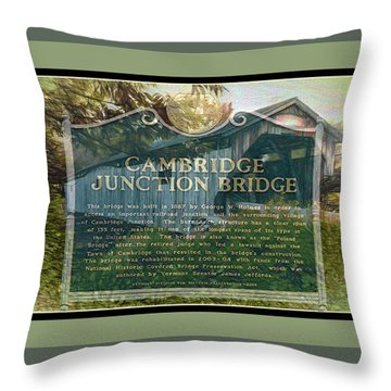 Cambridge Jct. Bridge History Throw Pillow