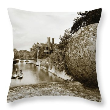 Cambridge Punting Sepia Throw Pillow