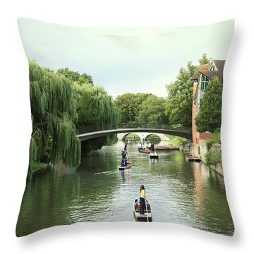 Cambridge River Punting Throw Pillow