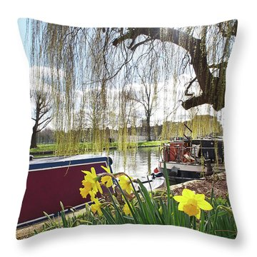 Throw Pillow featuring the photograph Cambridge Riverbank In Spring by Gill Billington