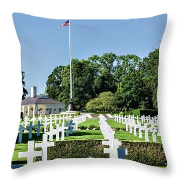 Throw Pillow featuring the photograph Cambridge England American Cemetery by Alan Toepfer