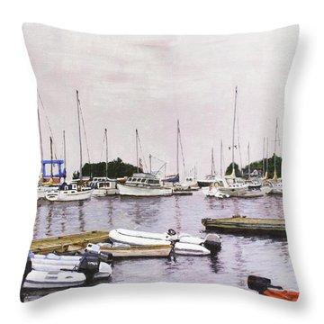 Camden Maine Marina Throw Pillow by Thomas Michael Meddaugh