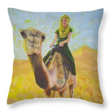 Camel At Work Throw Pillow