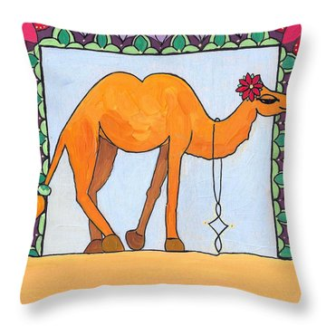 Throw Pillow featuring the painting Camel by Caroline Sainis