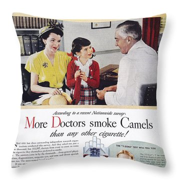 Camel Cigarette Ad, 1946 Throw Pillow by Granger