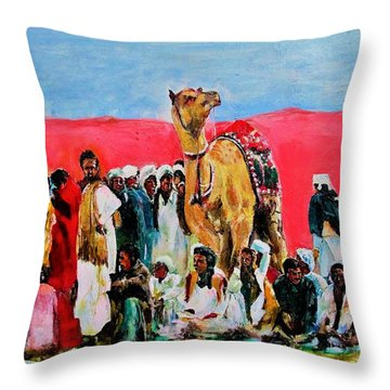 Camel Festival Throw Pillow by Khalid Saeed