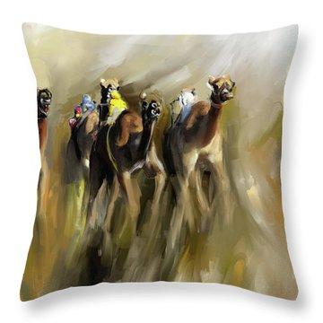 Camel Race 1 667 3 Throw Pillow