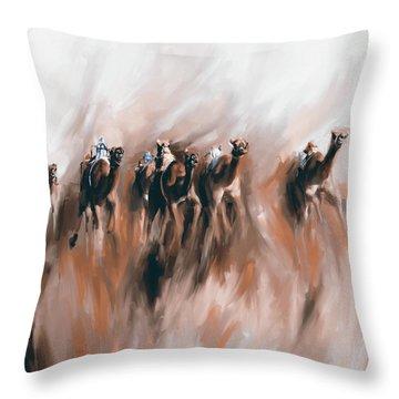 Camel Race 1 667 4 Throw Pillow