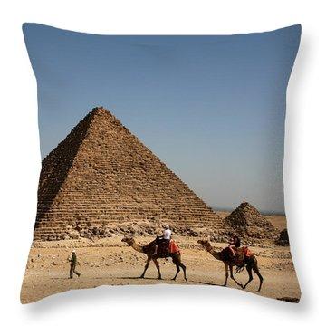 Camel Ride At The Pyramids Throw Pillow
