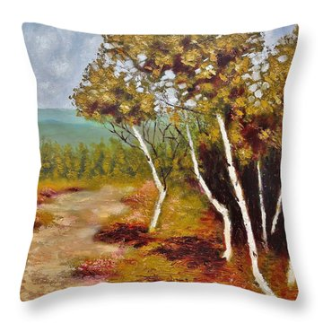 Camel Top Birches Throw Pillow by Jason Williamson