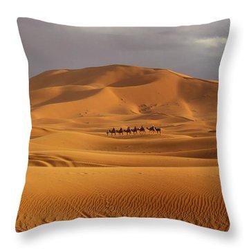 Throw Pillow featuring the photograph Camel Trek by Ramona Johnston