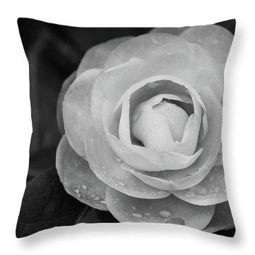 Camellia Black And White Throw Pillow