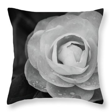 Camellia Black And White Throw Pillow