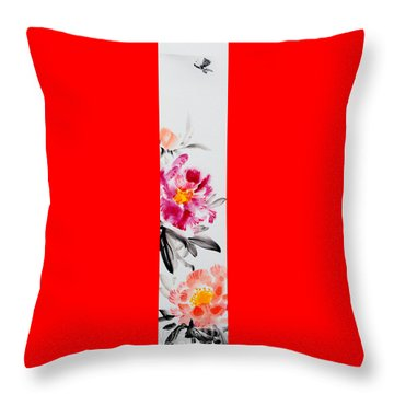 Camellia And Butterfly Throw Pillow