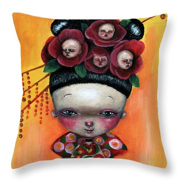 Camellia And Friends Throw Pillow