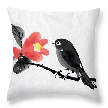 Camellia And A Little Bird Throw Pillow