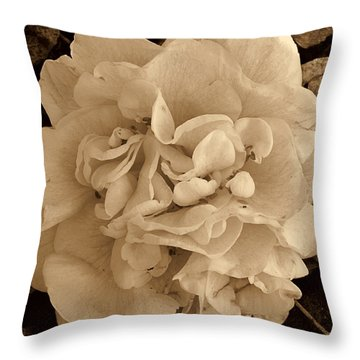 Camellia Sepia Throw Pillow by Susanne Van Hulst
