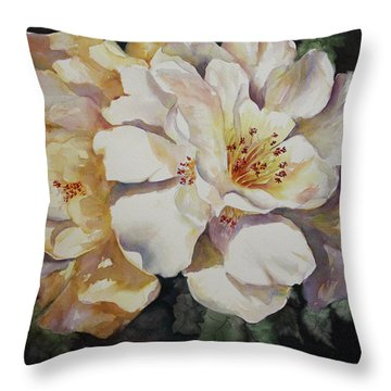 Camellias Golden Glow Throw Pillow by Roxanne Tobaison