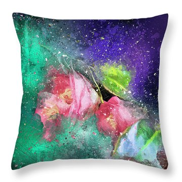 Camellias In A Galaxy Far Far Away Throw Pillow