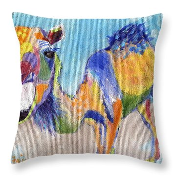 Throw Pillow featuring the painting Camelorful by Jamie Frier
