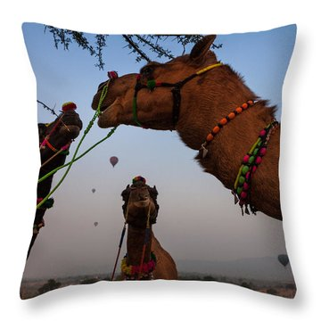 Camels And Balloons Throw Pillow