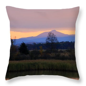 Camel's Hump Mountain From Dead Creek Throw Pillow by John Burk