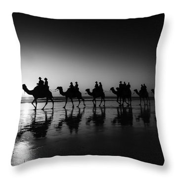 Camels On The Beach Throw Pillow