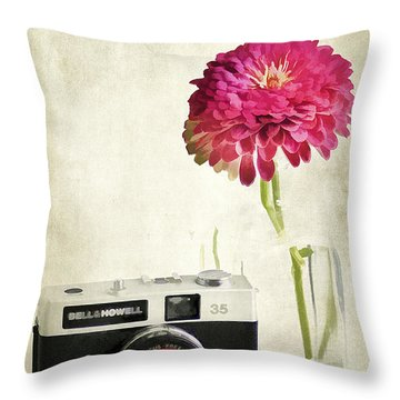 Camera And Flowers Throw Pillow by Darren Fisher