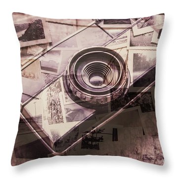 Camera Of A Vintage Double Exposure Throw Pillow