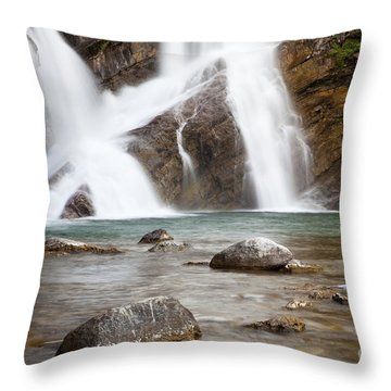 Cameron Falls In Waterton Lakes National Park Throw Pillow