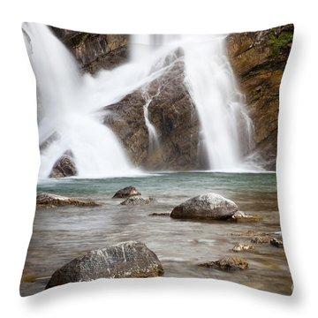 Cameron Falls In Waterton Lakes National Park Throw Pillow