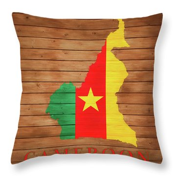 Cameroon Rustic Map On Woo Throw Pillow