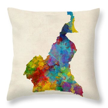 Throw Pillow featuring the digital art Cameroon Watercolor Map by Michael Tompsett