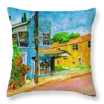 Throw Pillow featuring the painting Camilles Place by Eric Samuelson