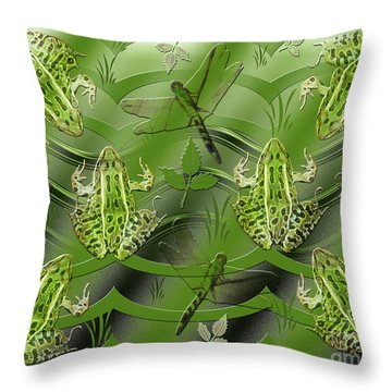 Camo Frog Dragonfly Throw Pillow