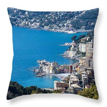 Camogli And Paradise Coast From Portofino Mount View Throw Pillow