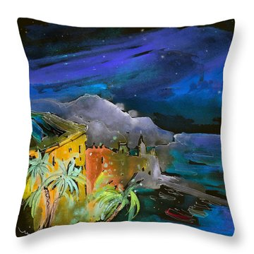 Camogli By Night In Italy Throw Pillow by Miki De Goodaboom