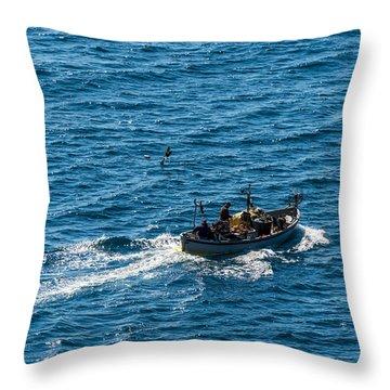 Camogli Fishermen Boat Throw Pillow