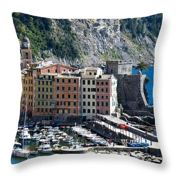 Camogli Harbour And Buildings View Throw Pillow