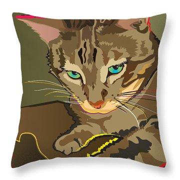 Camouflage Bengal Cat Throw Pillow